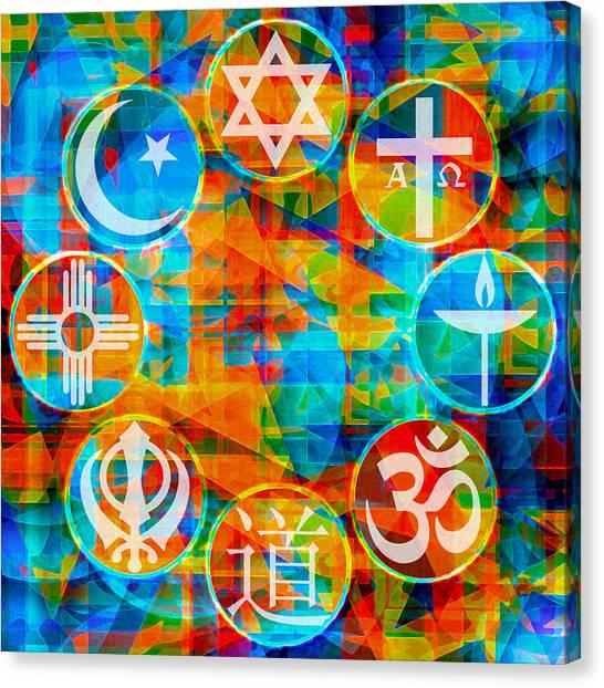 Coexist Canvas Print - Interfaith 1 by Dyana  Jean