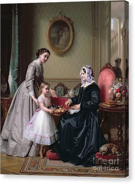 Grandma Canvas Print - Interior At 'the Chestnuts' Wimbledon Grandmother's Birthday by J L Dyckmans