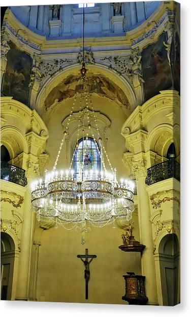 Interior Evening View Of St. Nicholas Church In Prague Canvas Print