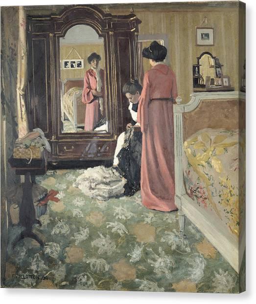 1904 Canvas Print - Interior by Felix Edouard Vallotton