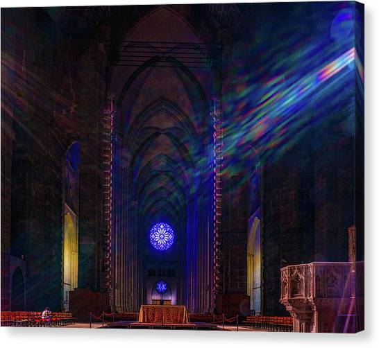 Canvas Print featuring the photograph Interior Looking Rearwards, Cathedral Of St. John The Divine by Chris Lord