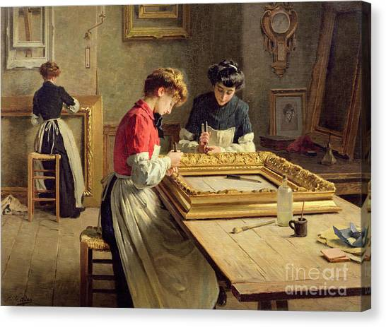Factories Canvas Print - Interior Of A Frame Gilding Workshop by Louis Emile Adan