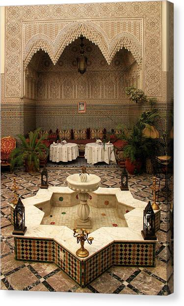 Interior Of A Traditional Riad In Fez Canvas Print by PIXELS  XPOSED Ralph A Ledergerber Photography