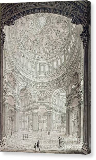 Wrens Canvas Print - Interior Of Saint Pauls Cathedral by John Coney