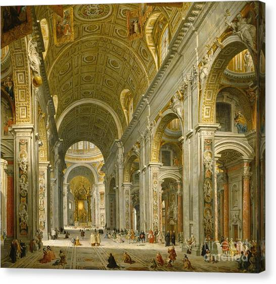 Saints Canvas Print - Interior Of St. Peter's - Rome by Giovanni Paolo Panini