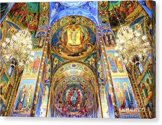 Orthodox Art Canvas Print - Interior Of The Church Of The Savior On Spilled Blood by Delphimages Photo Creations