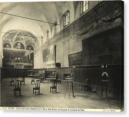 Vault Canvas Print - Interior Of The Dining Hall Of The Church Of Santa Maria Delle Grazie Milan by Alinari