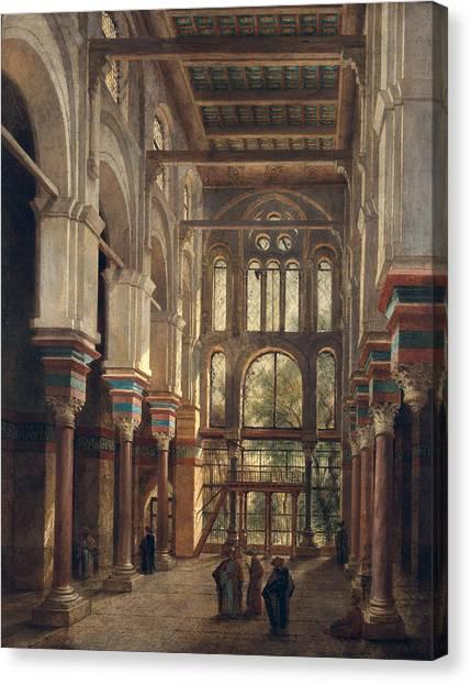 House Of Worship Canvas Print - Interior Of The Mosque Of El Mooristan In Cairo by Adrien Dauzats