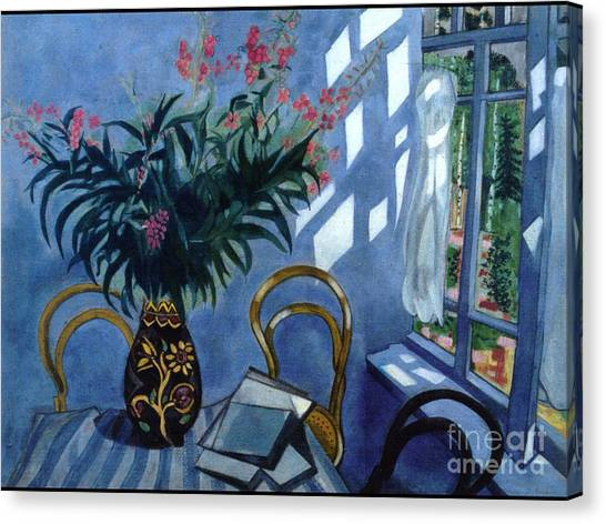 Interior With Flowers Canvas Print