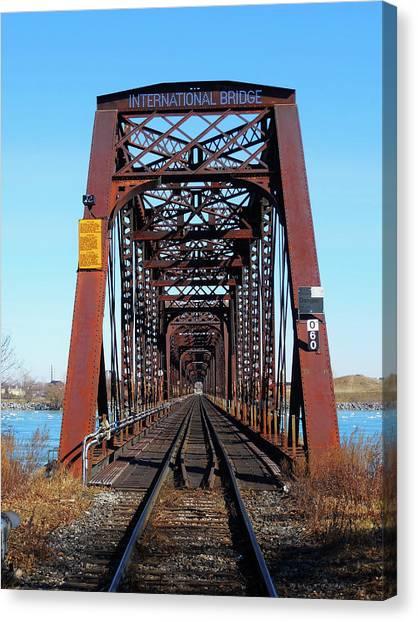 International Bridge - Railway Bridge To United States Canvas Print
