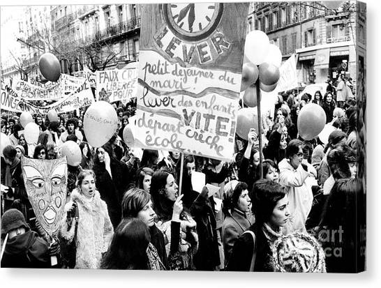 Womens Rights Canvas Print - International March Of The Women In Paris November 20, 1971 by French School