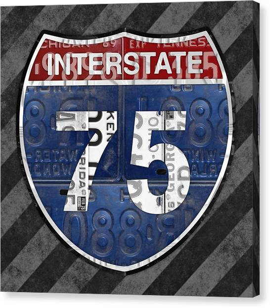 Interstates Canvas Print - Interstate 75 Highway Sign Recycled Vintage License Plate Art On Striped Concrete by Design Turnpike