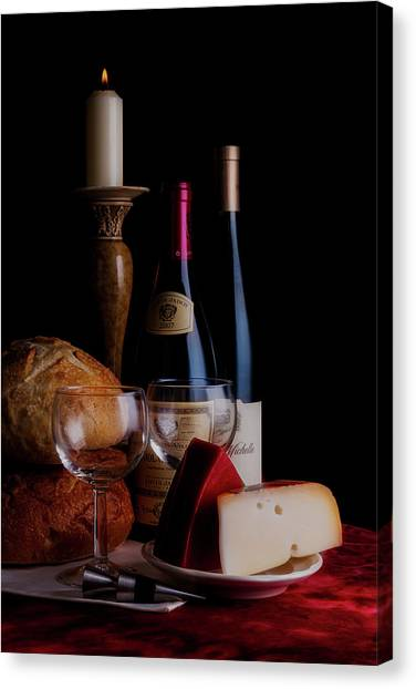 Candlestick Canvas Print - Intimate Evening by Tom Mc Nemar