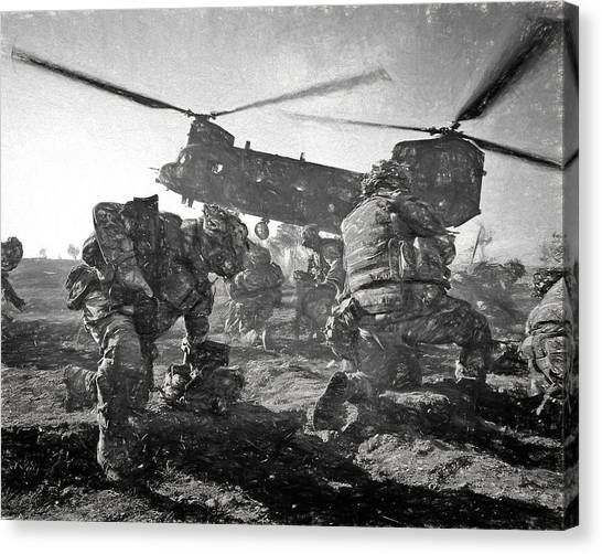 Royal Marines Canvas Print - Into Battle - Charcoal by Roy Pedersen