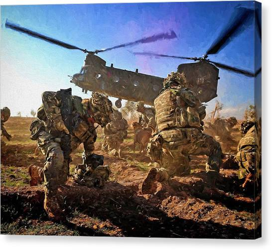 Royal Marines Canvas Print - Into Battle - Painting by Roy Pedersen