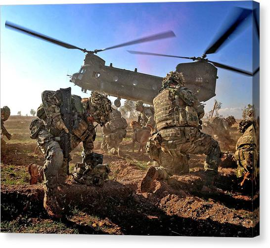 Royal Marines Canvas Print - Into Battle by Roy Pedersen