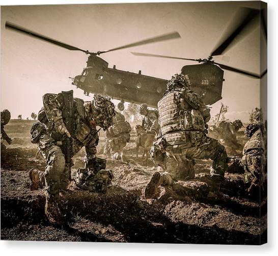 Royal Marines Canvas Print - Into Battle-sepia by Roy Pedersen