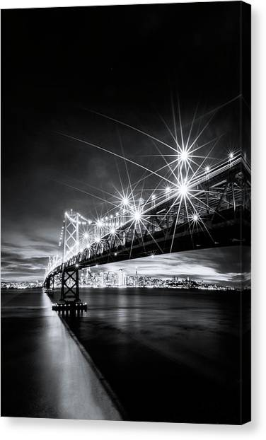 Into The City, Black And White Canvas Print by Vincent James