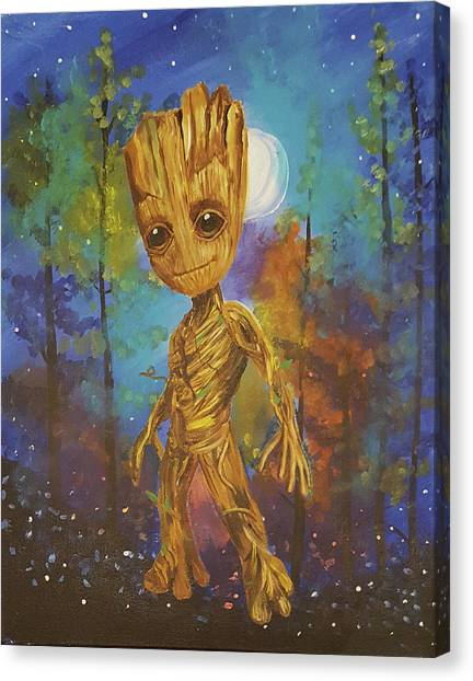 Into The Eyes Of Baby Groot Canvas Print