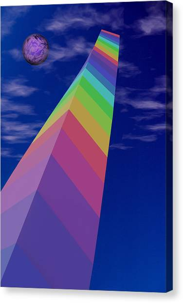 Coexist Canvas Print - Into The Future - Rainbow Monolith And Planet by Mitch Spence