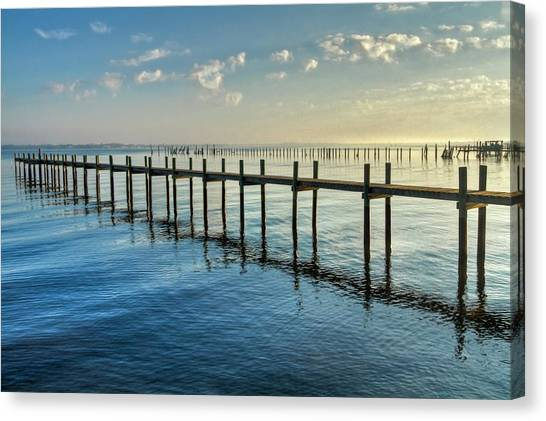 Fort Pierce Canvas Print - Into The Mist by Debra and Dave Vanderlaan
