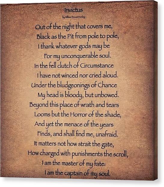 Canvas Print - Invictus #poem by Cody Barnhart
