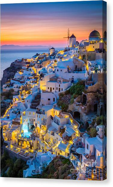 Europa Canvas Print - Oia Sunset by Inge Johnsson