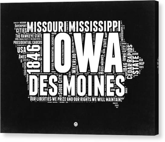 Missouri Canvas Print - Iowa Black And White Map by Naxart Studio