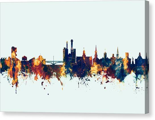 Iowa Canvas Print - Iowa City Iowa Skyline by Michael Tompsett