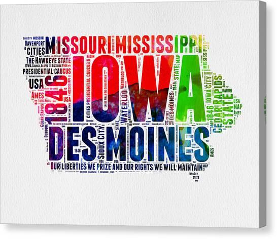Iowa Canvas Print - Iowa Watercolor Word Cloud  by Naxart Studio