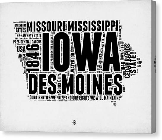 Iowa Canvas Print - Iowa Word Cloud 2 by Naxart Studio
