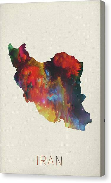 Iranian Canvas Print - Iran Watercolor Map by Design Turnpike