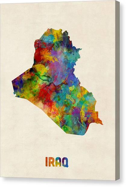 Baghdad Canvas Print - Iraq Watercolor Map by Michael Tompsett