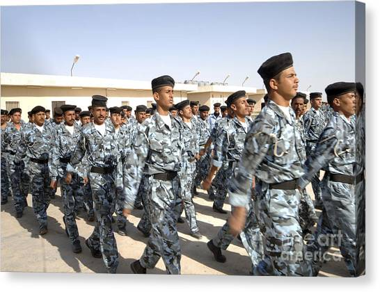 Police Officers Canvas Print - Iraqi Police Cadets Being Trained by Andrew Chittock