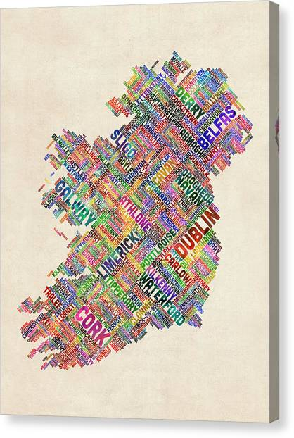 Ireland Canvas Print - Ireland Eire City Text Map Derry Version by Michael Tompsett