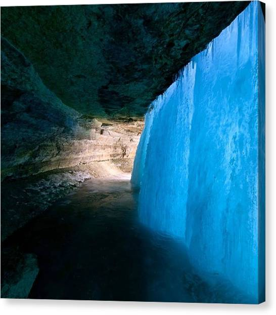 Ice Caves Canvas Print - Iridescent Blue  by Ryan Tuck
