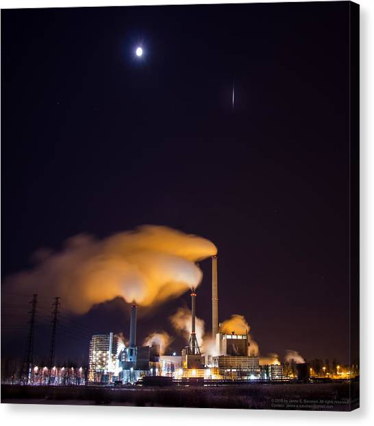 Satellite Canvas Print - Iridium 53 Flaring Over Suomenoja Power Plant by Janne E Sievinen