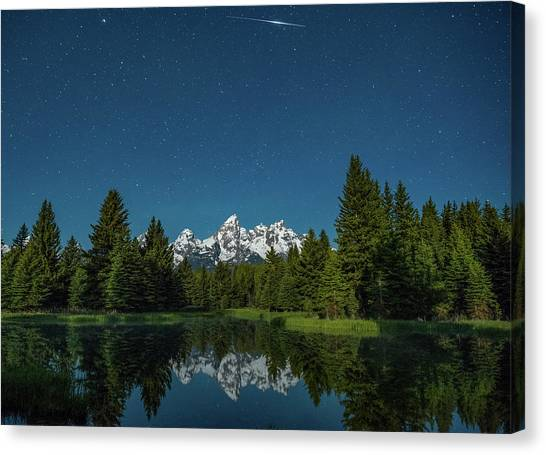 Teton Canvas Print - Iridium Flare Over Grand Teton by Darren White