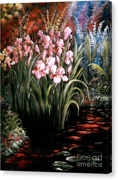 Iris By The Pond Canvas Print