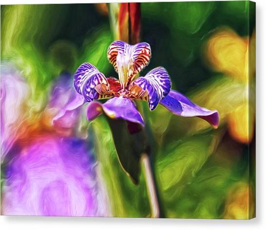 Canvas Print featuring the digital art Iris Versicolor by Doctor Mehta