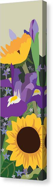 Irises And Sunflowers Canvas Print by Marian Federspiel