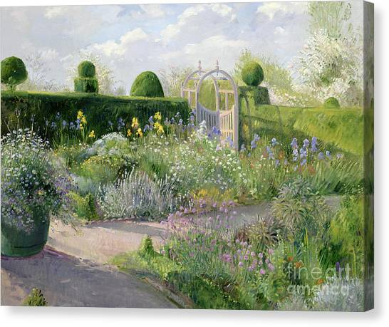 Golden Gate Bridge Canvas Print - Irises In The Herb Garden by Timothy Easton
