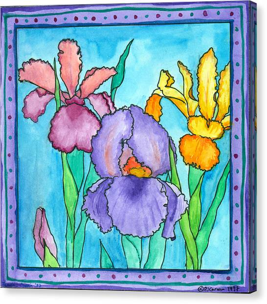 Irises Canvas Print by Pamela  Corwin