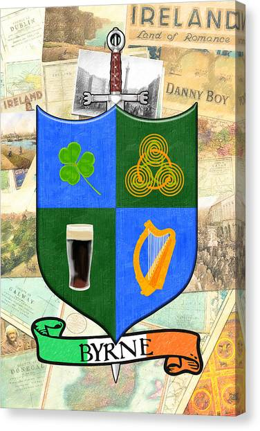 Irish Coat Of Arms - Byrne Canvas Print by Mark Tisdale
