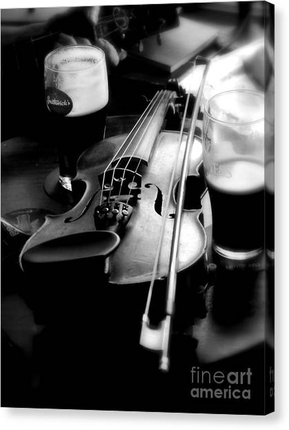 Irish Fiddle On A Break Canvas Print