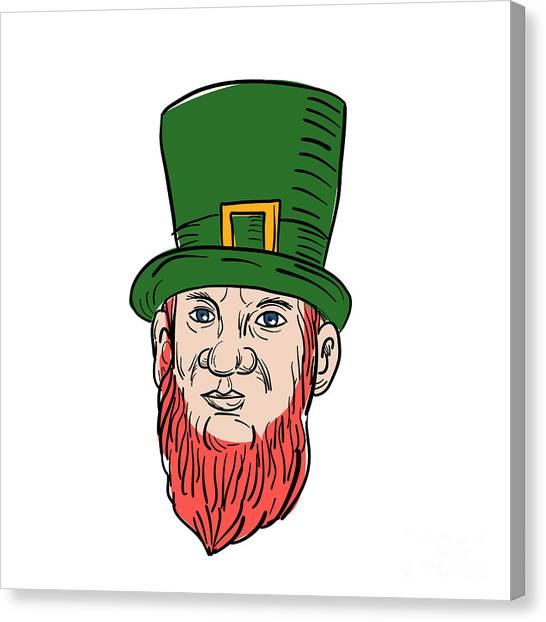 Pigmy Canvas Print - Irish Leprechaun Wearing Top Hat Drawing by Aloysius Patrimonio