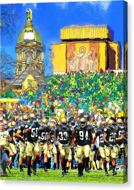 Notre Dame Canvas Print - Irish Run To Victory by John Farr