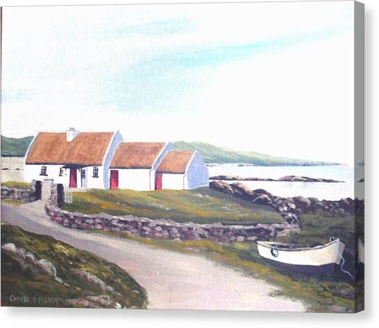 Irish Thatched Cottage Canvas Print by Cathal O malley