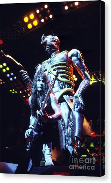 Chris Walter Canvas Print - Iron Maiden 1987 Steve Harris And Eddie by Chris Walter