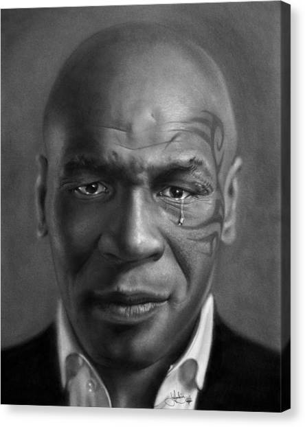 Mike Tyson Canvas Print - Iron Mike Tyson Drawing by John Harding